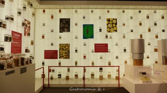 Muitas salas recheadas de sementes de grãos, leguminosas e cereais...