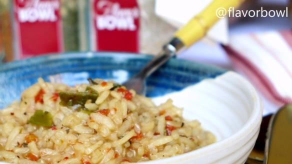 Risoto de Tomates, Alho Poró e Manjericão. Basta adicionar azeite ou manteiga, água e finalizar com parmesão.